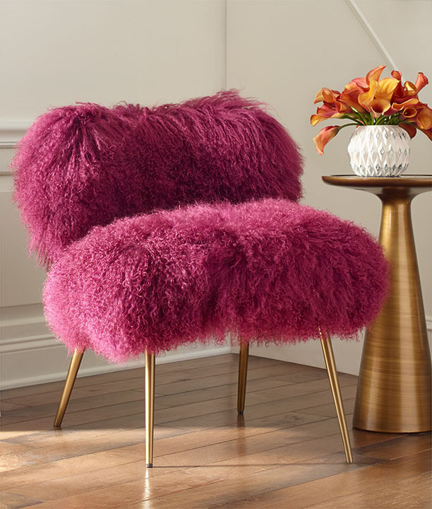 Fifi Chair in Tibetan Fur-Orchid