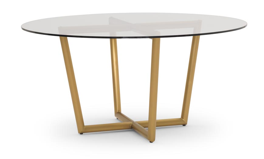 Modern Round Dining Table in brass with clear tempered glass top