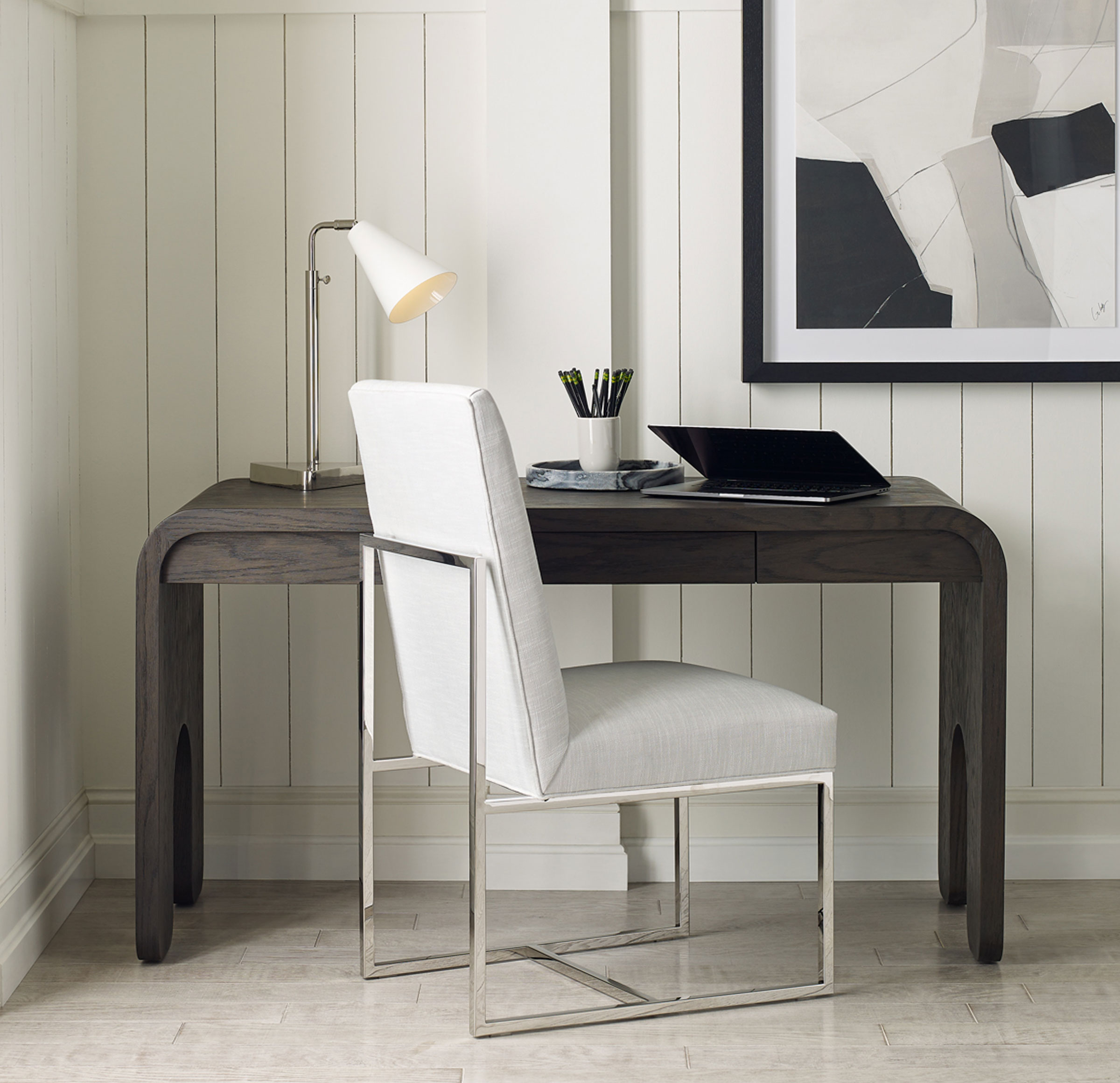 GAGE TALL DINING CHAIR - POLISHED STAINLESS STEEL, Vinyl - WHITE, hi-res