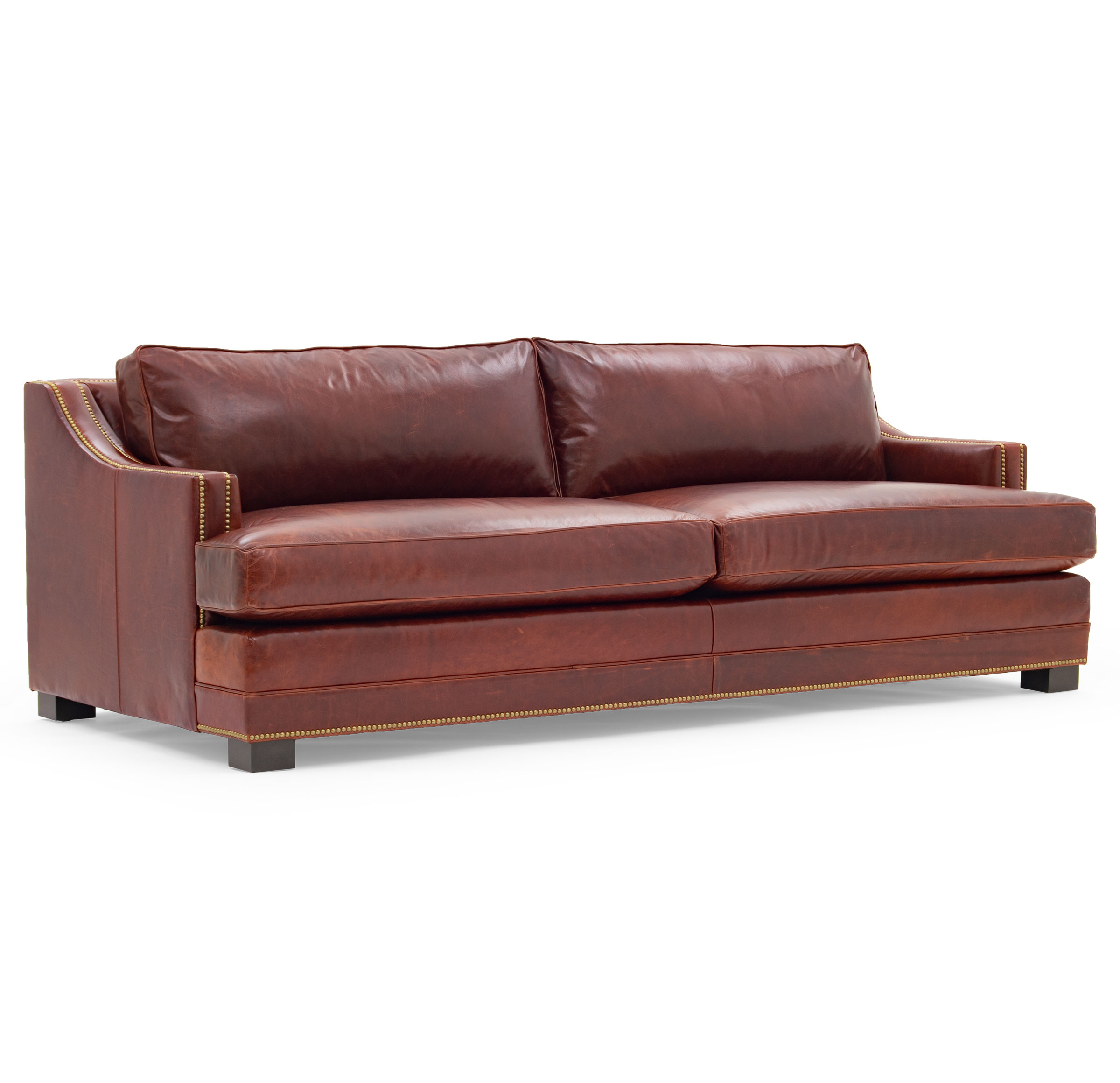 KEATON SLOPE ARM LEATHER SOFA STUDIO DEPTH WITH NAILHEAD, MONT BLANC - CHIANTI, hi-res