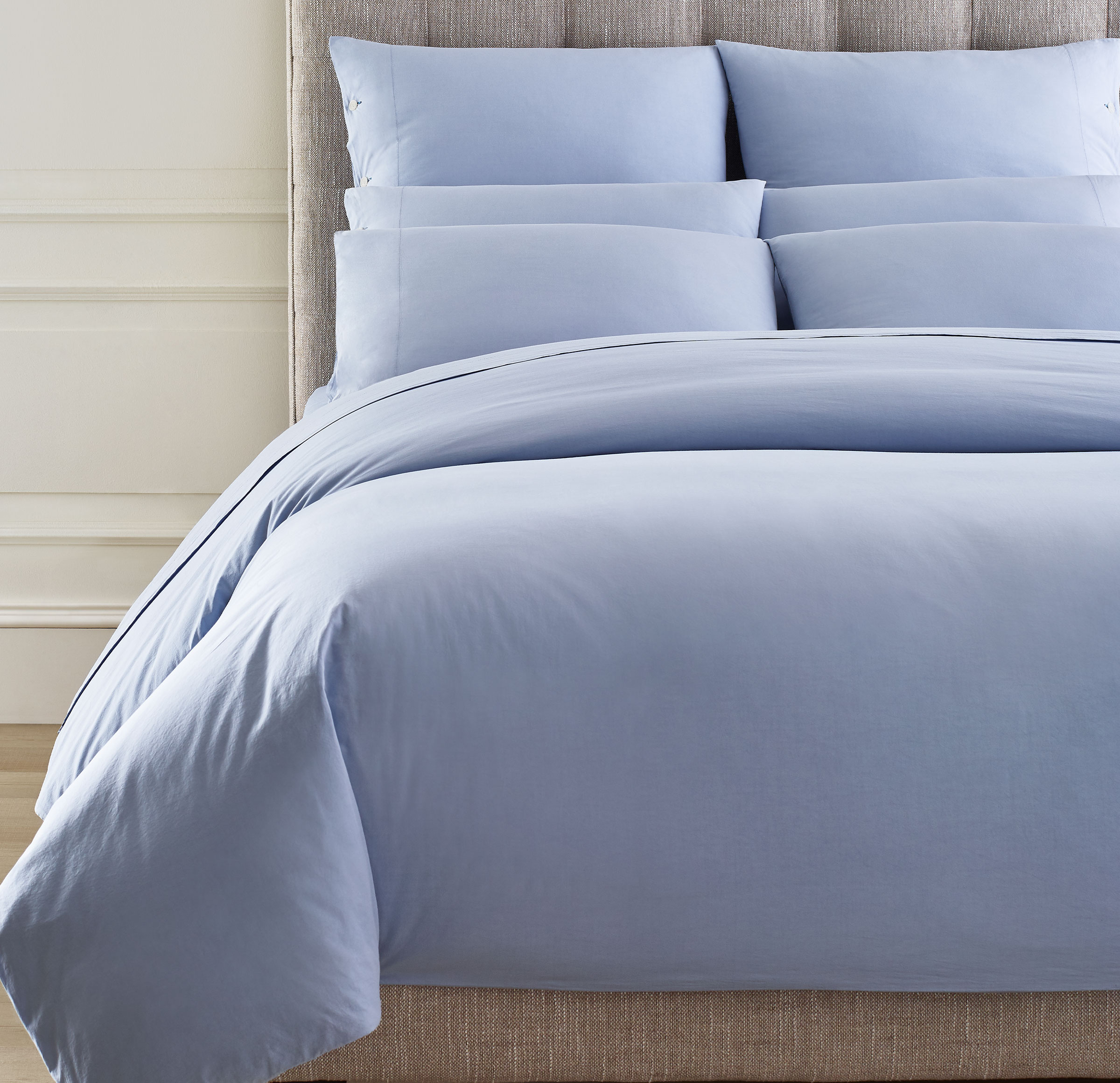 EXPOSED BUTTON VINTAGE WASHED COTTON PERCALE DUVET COVER AND SHAMS, , hi-res