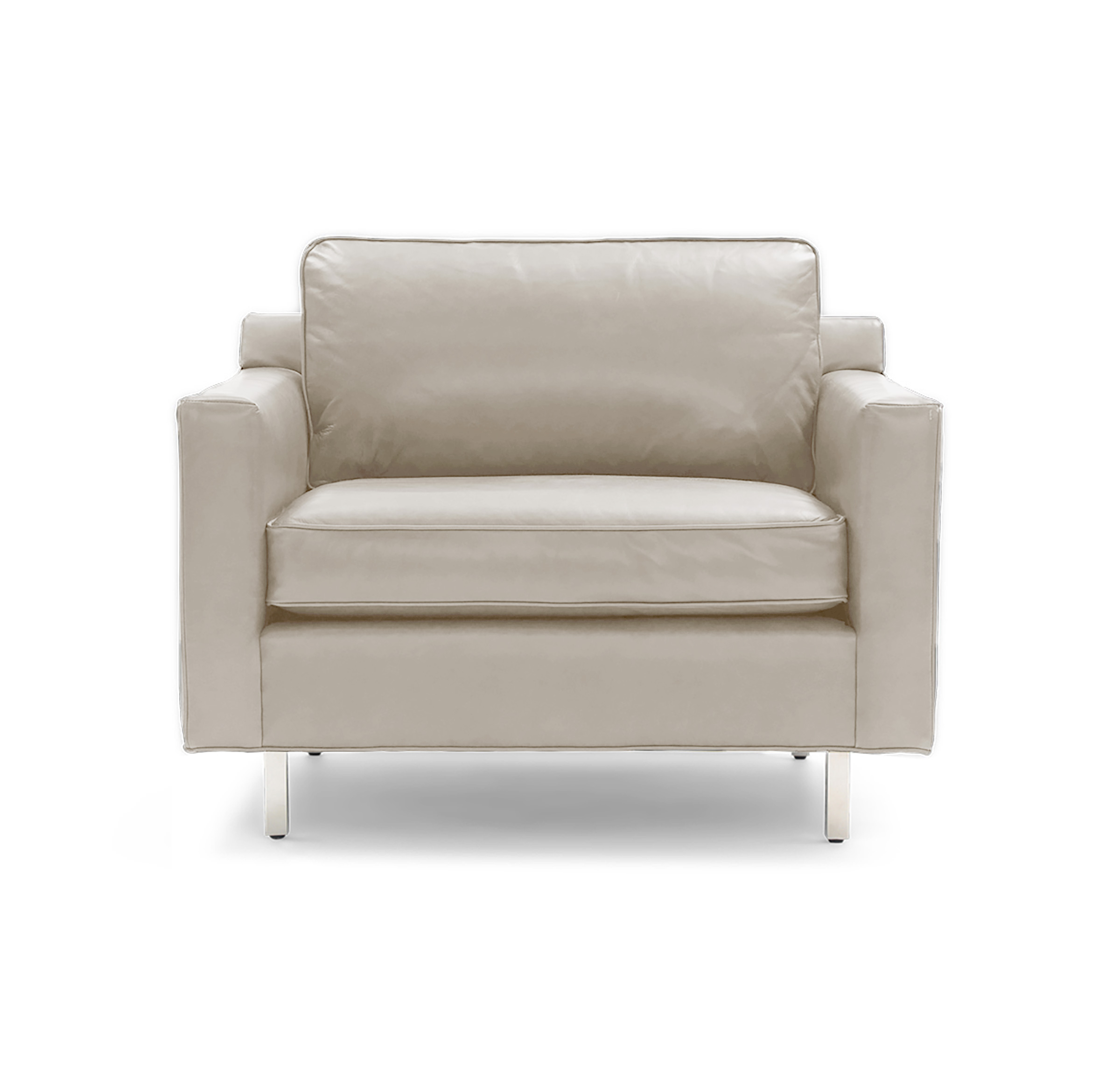 HUNTER LEATHER CHAIR, Mont Blanc - Italian Leather - Ivory, hi-res