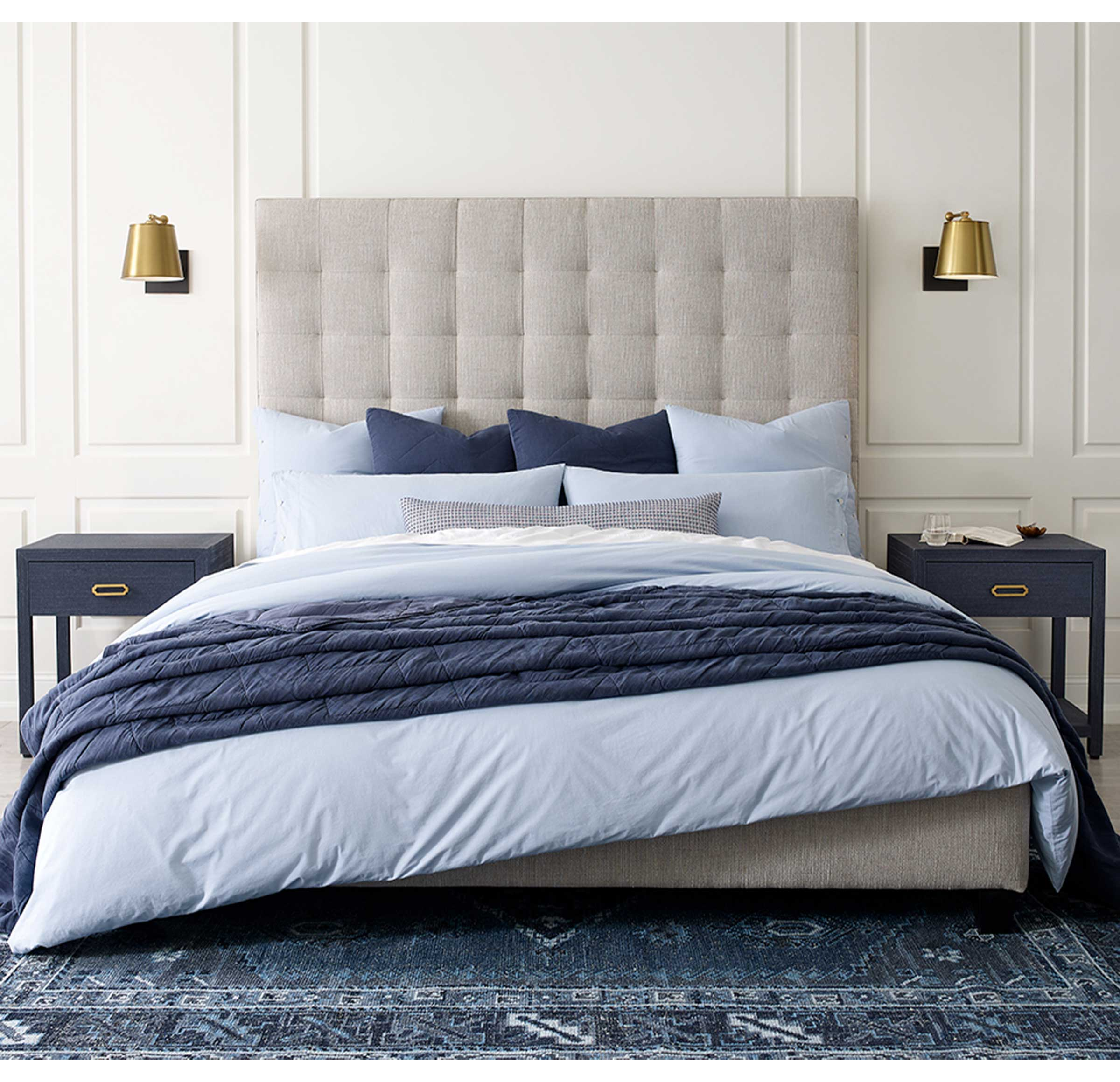EXPOSED BUTTON VINTAGE WASHED COTTON PERCALE DUVET COVER, , hi-res