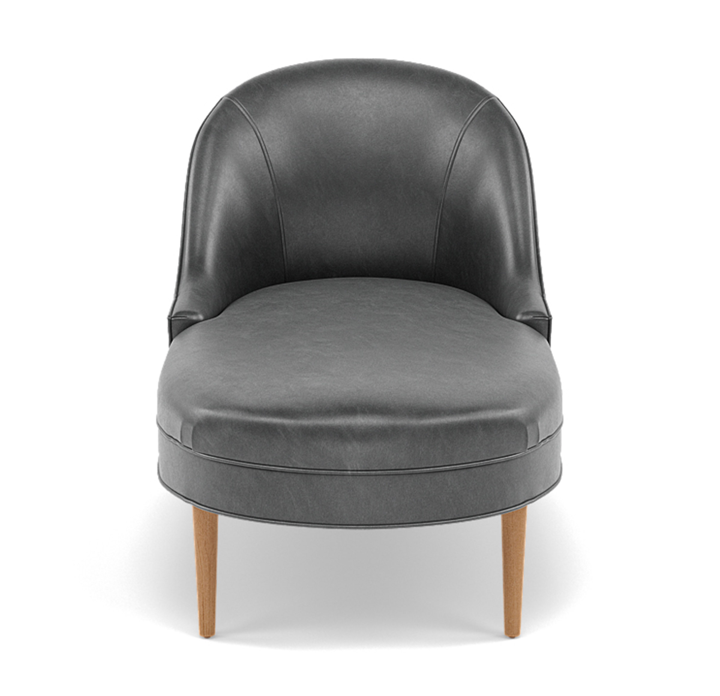 BELLA LEATHER CHAISE, MONT BLANC - IRON, hi-res